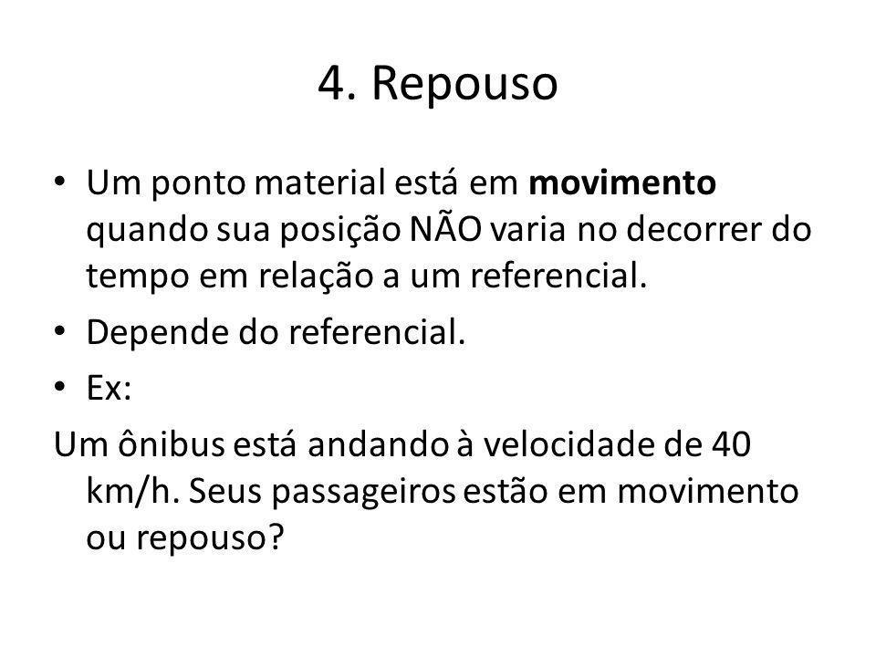 4. Repouso Um ponto material está em movimento quando sua posição NÃO varia no decorrer do tempo em relação a um referencial. Depende do referencial.