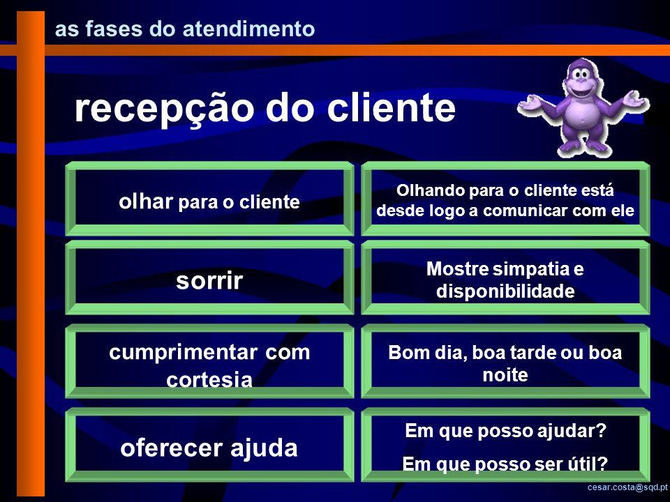 as fases do atendimento cesar.costa@sqd.pt recepção do cliente olhar para o cliente Olhando para o cliente está desde logo a comunicar com ele sorrir