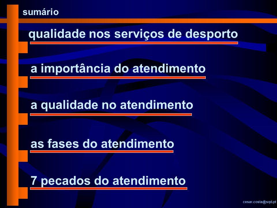 sumário cesar.costa@sqd.pt qualidade nos serviços de desporto a importância do atendimento as fases do atendimento 7 pecados do atendimento a qualidad