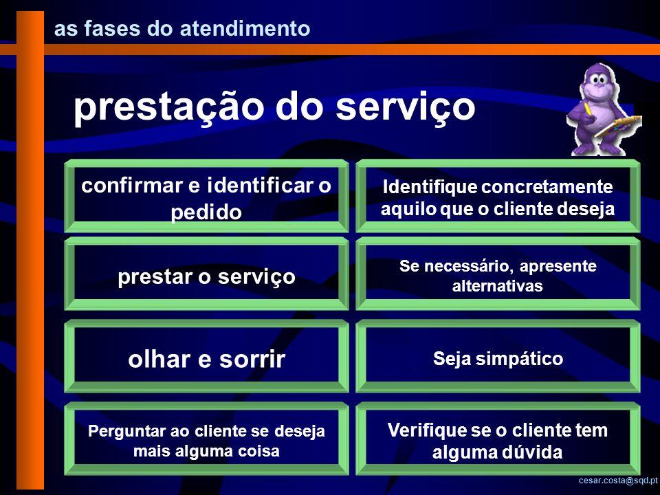 as fases do atendimento cesar.costa@sqd.pt prestação do serviço confirmar e identificar o pedido Identifique concretamente aquilo que o cliente deseja