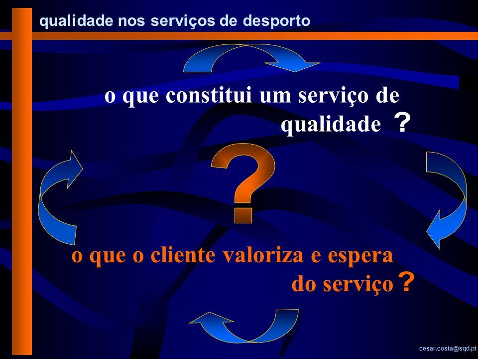 qualidade nos serviços de desporto cesar.costa@sqd.pt DIMENSÕES ATRIBUTOS acessibilidades instalações fiabilidade competência necessidades comunicação simpatia credibilidade Cap.