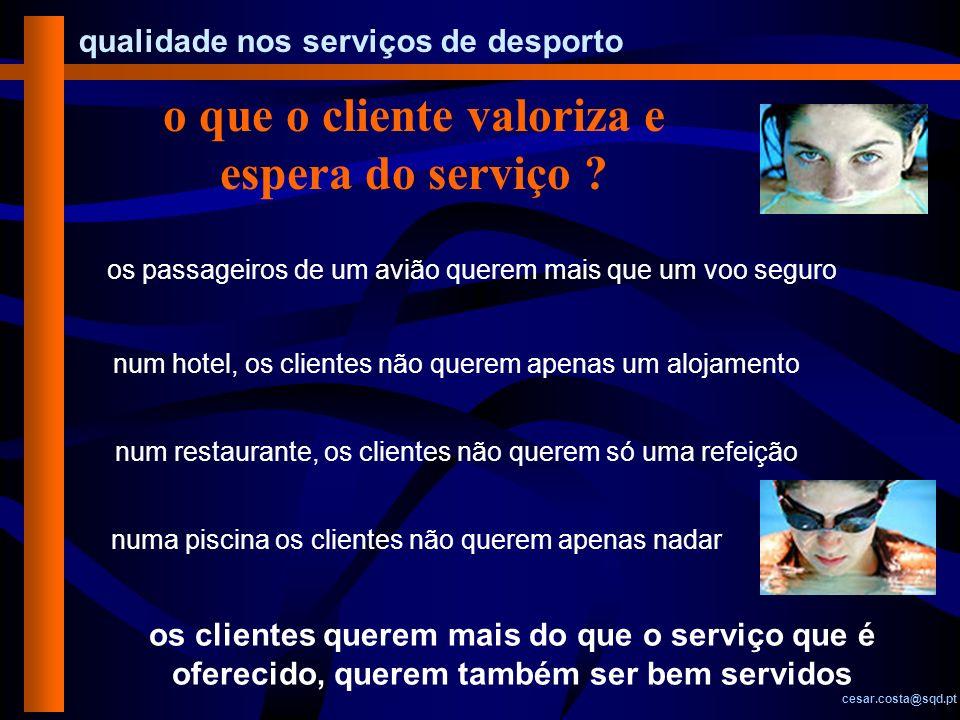 qualidade nos serviços de desporto cesar.costa@sqd.pt o que o cliente valoriza e espera do serviço ? os passageiros de um avião querem mais que um voo