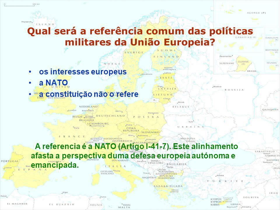Qual será a referência comum das políticas militares da União Europeia? os interesses europeus a NATO a constituição não o refere A referencia é a NAT