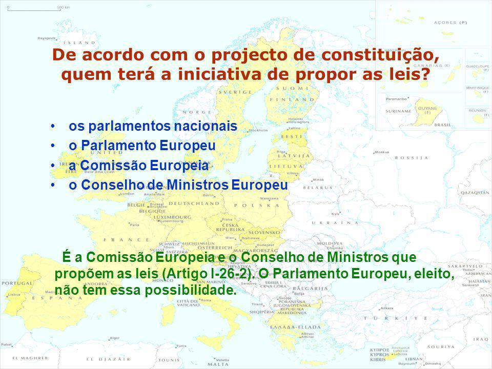 De acordo com o projecto de constituição, quem terá a iniciativa de propor as leis? os parlamentos nacionais o Parlamento Europeu a Comissão Europeia