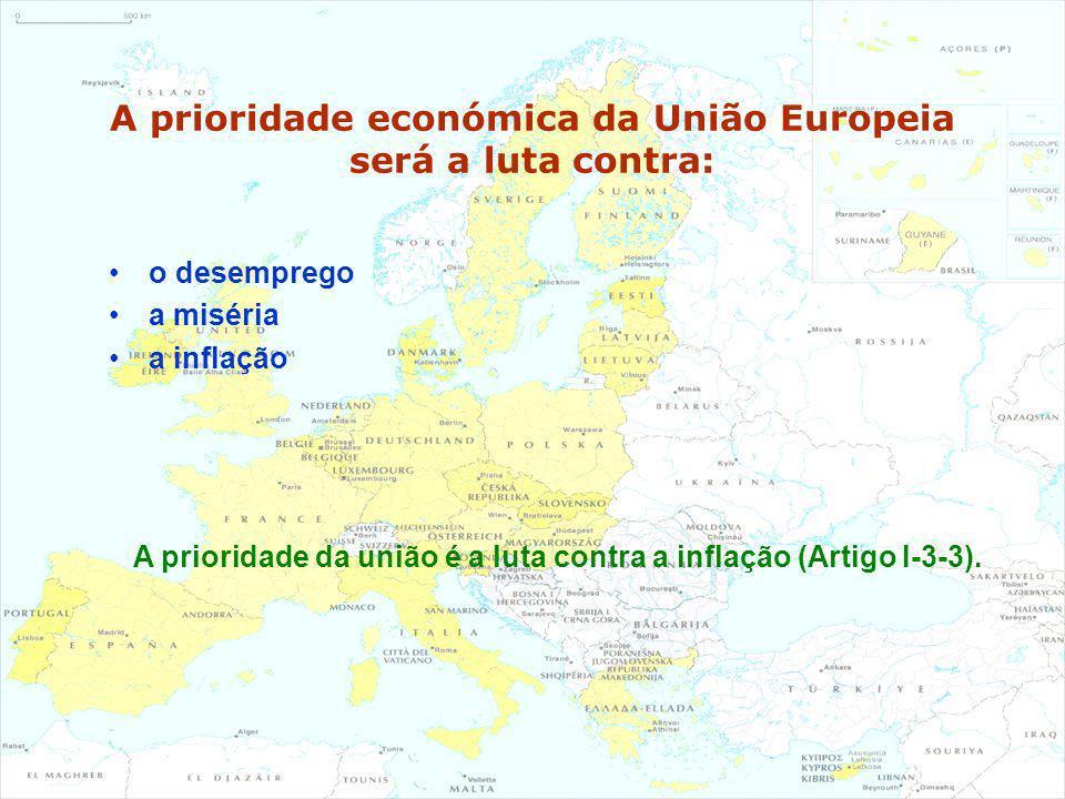 A prioridade económica da União Europeia será a luta contra: o desemprego a miséria a inflação A prioridade da união é a luta contra a inflação (Artig