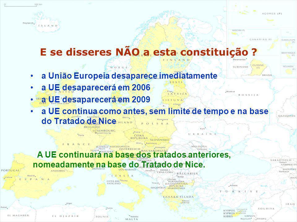 E se disseres NÃO a esta constituição ? a União Europeia desaparece imediatamente a UE desaparecerá em 2006 a UE desaparecerá em 2009 a UE continua co