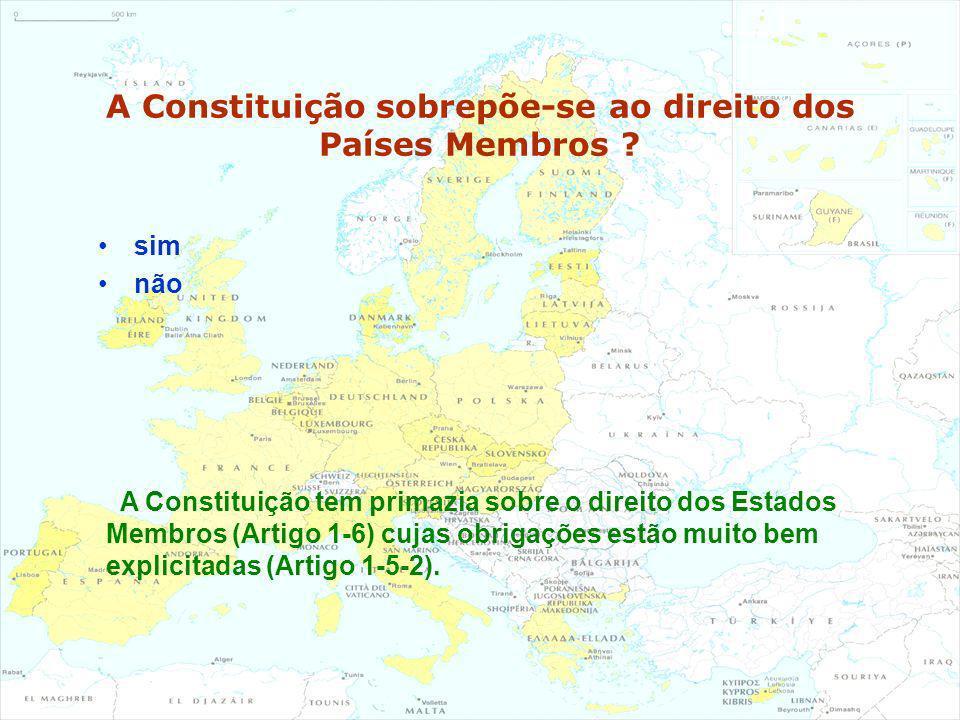 A Constituição sobrepõe-se ao direito dos Países Membros ? sim não A Constituição tem primazia sobre o direito dos Estados Membros (Artigo 1-6) cujas