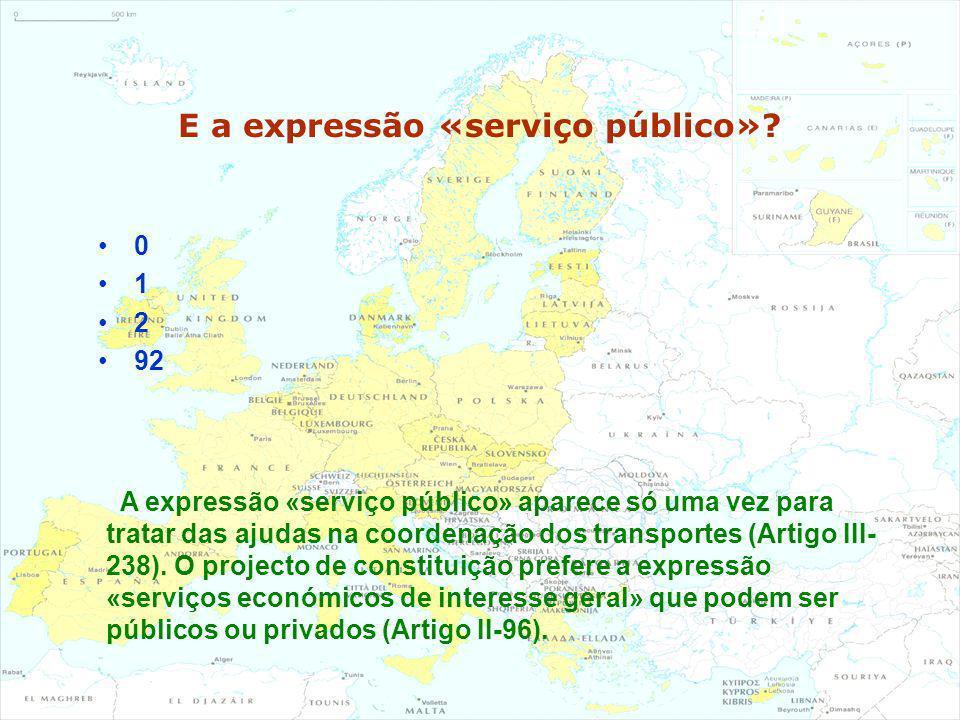 E a expressão «serviço público»? 0 1 2 92 A expressão «serviço público» aparece só uma vez para tratar das ajudas na coordenação dos transportes (Arti