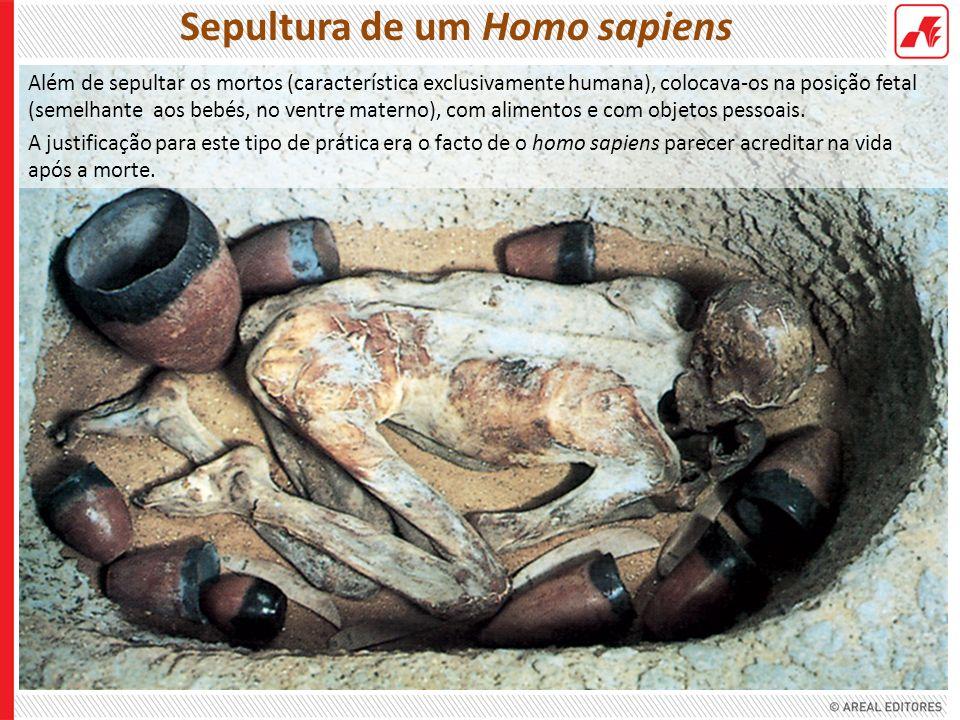 Além de sepultar os mortos (característica exclusivamente humana), colocava-os na posição fetal (semelhante aos bebés, no ventre materno), com aliment
