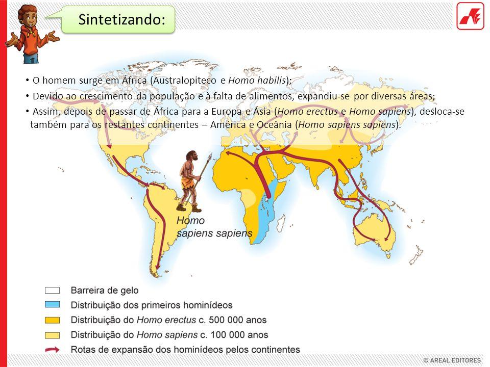 Sintetizando: O homem surge em África (Australopiteco e Homo habilis); Devido ao crescimento da população e à falta de alimentos, expandiu-se por dive