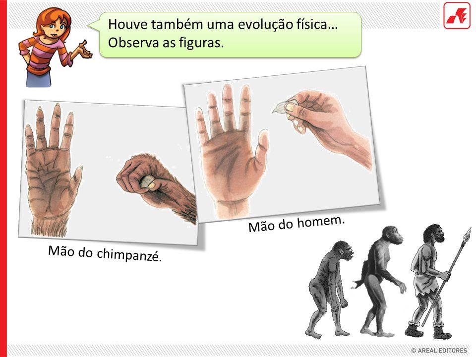 Houve também uma evolução física… Observa as figuras. Mão do chimpanzé. Mão do homem.