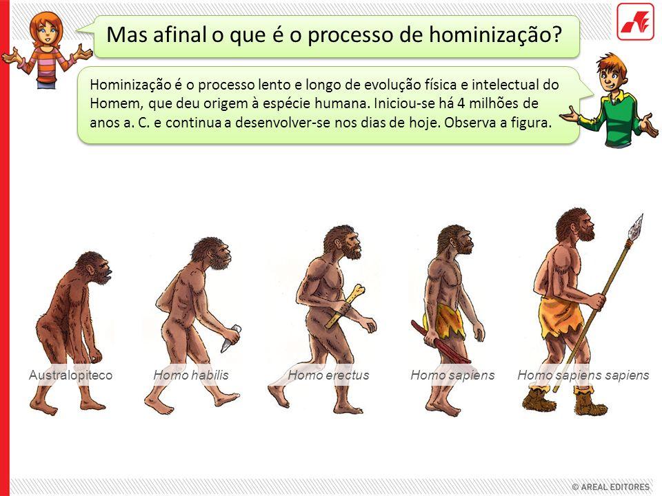 Mas afinal o que é o processo de hominização? Hominização é o processo lento e longo de evolução física e intelectual do Homem, que deu origem à espéc