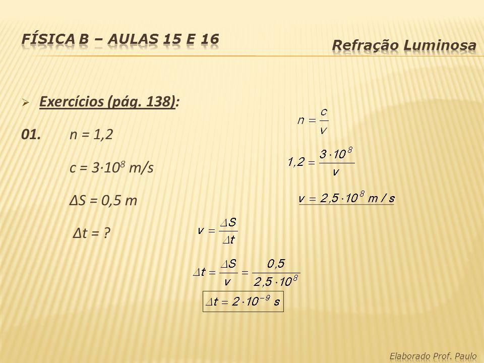 Exercícios (pág. 138): 01. n = 1,2 c = 3·10 8 m/s S = 0,5 m t = ?
