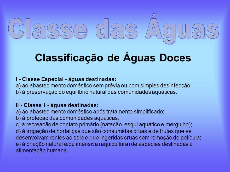 Classificação de Águas Doces I - Classe Especial - águas destinadas: a) ao abastecimento doméstico sem prévia ou com simples desinfecção; b) à preserv