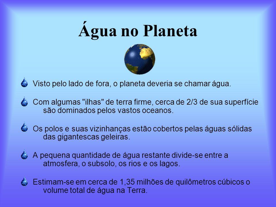 Água no Planeta Visto pelo lado de fora, o planeta deveria se chamar água. Com algumas