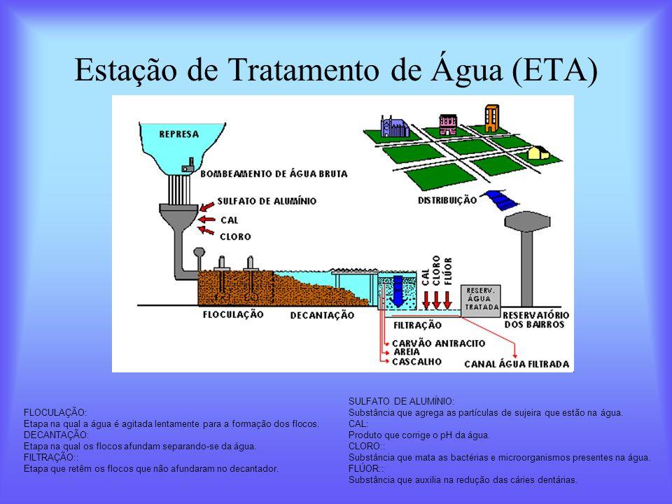 Estação de Tratamento de Água (ETA) FLOCULAÇÃO: Etapa na qual a água é agitada lentamente para a formação dos flocos. DECANTAÇÃO: Etapa na qual os flo