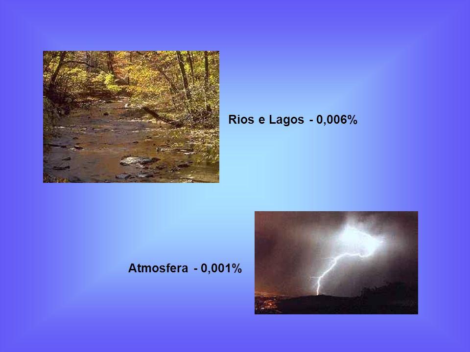 Rios e Lagos - 0,006% Atmosfera - 0,001%