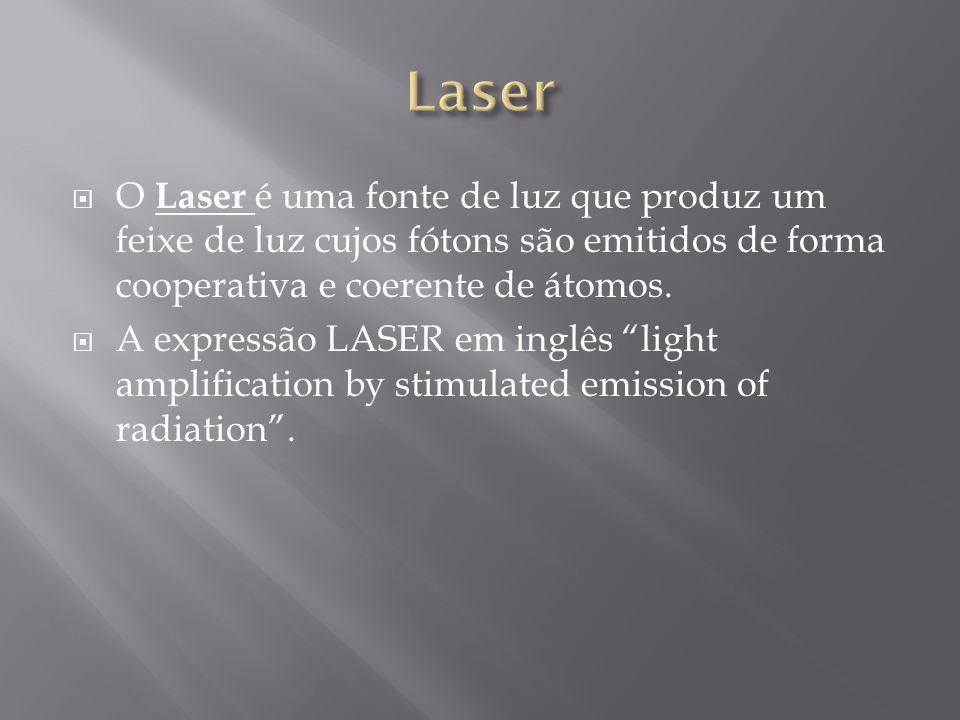 O Laser é uma fonte de luz que produz um feixe de luz cujos fótons são emitidos de forma cooperativa e coerente de átomos. A expressão LASER em inglês
