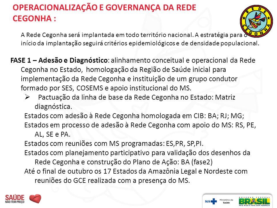 OPERACIONALIZAÇÃO E GOVERNANÇA DA REDE CEGONHA : A Rede Cegonha será implantada em todo território nacional. A estratégia para o início da implantação