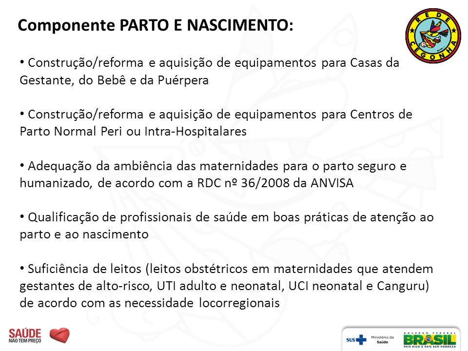 Componente PARTO E NASCIMENTO: Construção/reforma e aquisição de equipamentos para Casas da Gestante, do Bebê e da Puérpera Construção/reforma e aquis