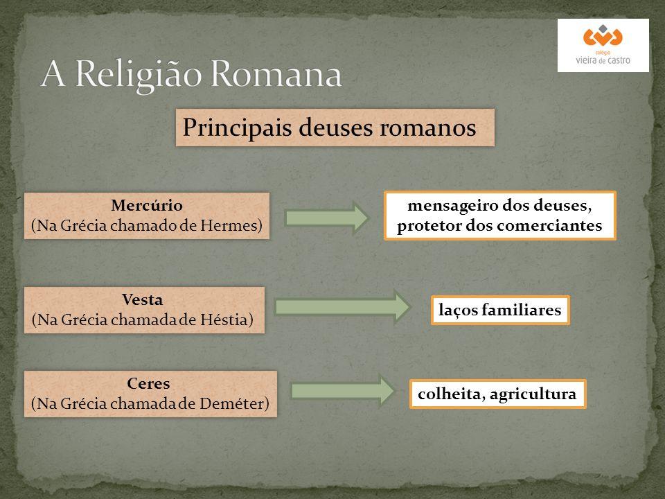 Principais deuses romanos Mercúrio (Na Grécia chamado de Hermes) Mercúrio (Na Grécia chamado de Hermes) Vesta (Na Grécia chamada de Héstia) Vesta (Na