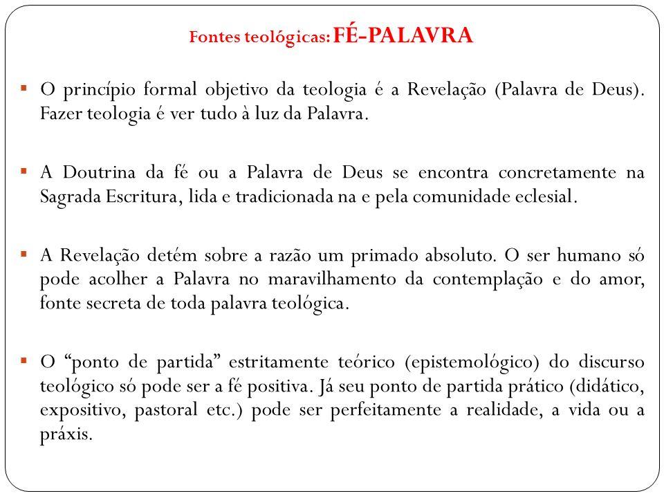 Fontes teológicas: FÉ-PALAVRA O princípio formal objetivo da teologia é a Revelação (Palavra de Deus). Fazer teologia é ver tudo à luz da Palavra. A D
