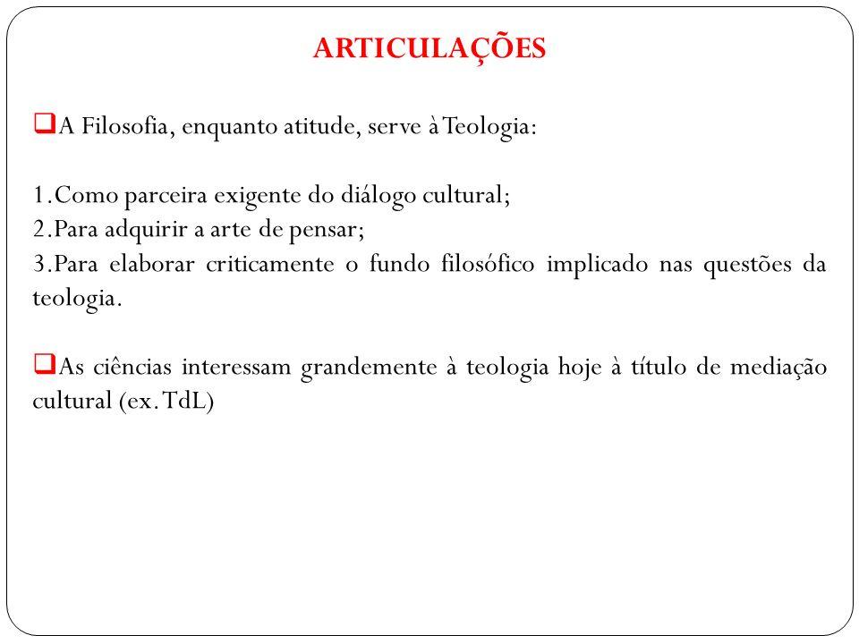 ARTICULAÇÕES A Filosofia, enquanto atitude, serve à Teologia: 1.Como parceira exigente do diálogo cultural; 2.Para adquirir a arte de pensar; 3.Para e