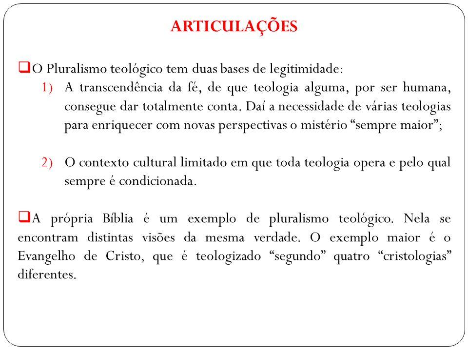 ARTICULAÇÕES O Pluralismo teológico tem duas bases de legitimidade: 1)A transcendência da fé, de que teologia alguma, por ser humana, consegue dar tot
