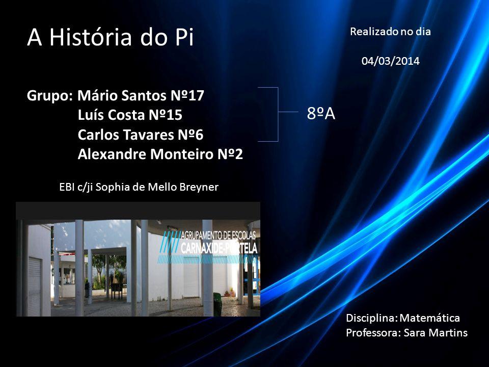 A História do Pi Grupo: Mário Santos Nº17 Luís Costa Nº15 Luís Costa Nº15 Carlos Tavares Nº6 Carlos Tavares Nº6 Alexandre Monteiro Nº2 Alexandre Monte
