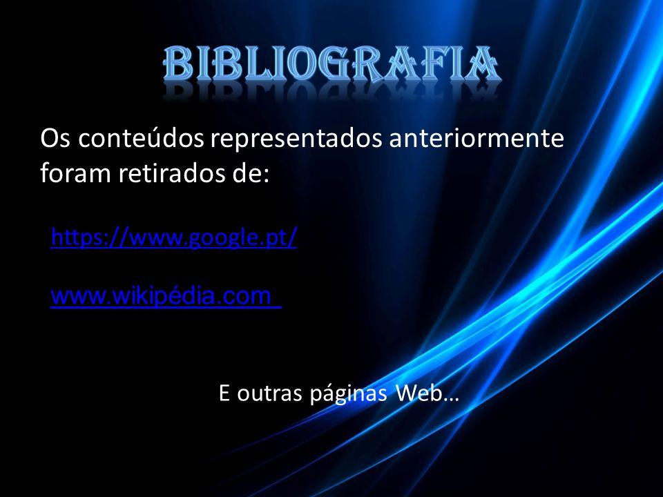 Os conteúdos representados anteriormente foram retirados de: https://www.google.pt/ www.wikipédia.com E outras páginas Web…