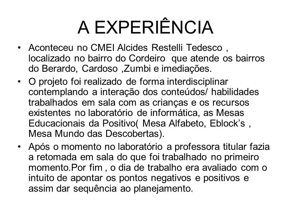 A EXPERIÊNCIA Aconteceu no CMEI Alcides Restelli Tedesco, localizado no bairro do Cordeiro que atende os bairros do Berardo, Cardoso,Zumbi e imediaçõe