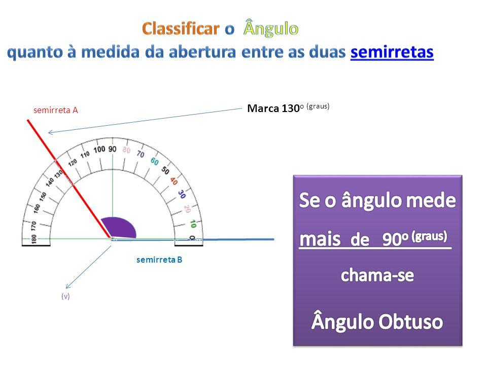 Marca 130 o (graus) semirreta A semirreta B (v)
