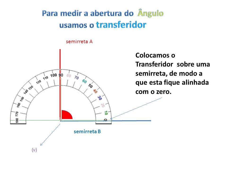 semirreta A semirreta B (v) Colocamos o Transferidor sobre uma semirreta, de modo a que esta fique alinhada com o zero.