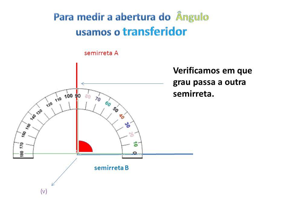 semirreta A semirreta B (v) Verificamos em que grau passa a outra semirreta.