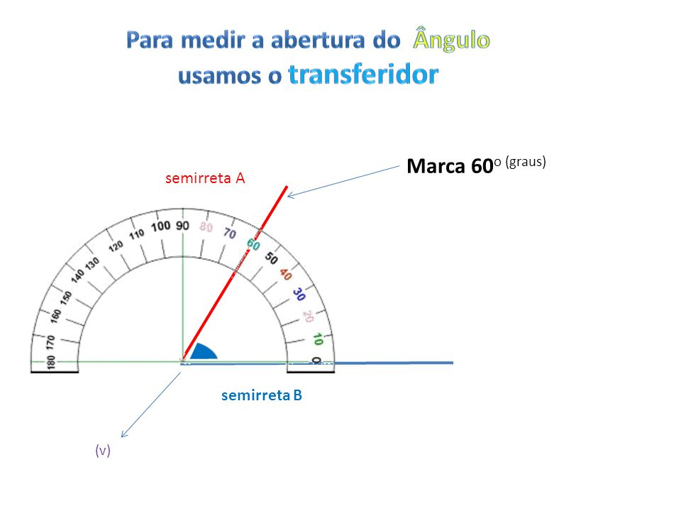semirreta A semirreta B (v) Marca 60 o (graus)