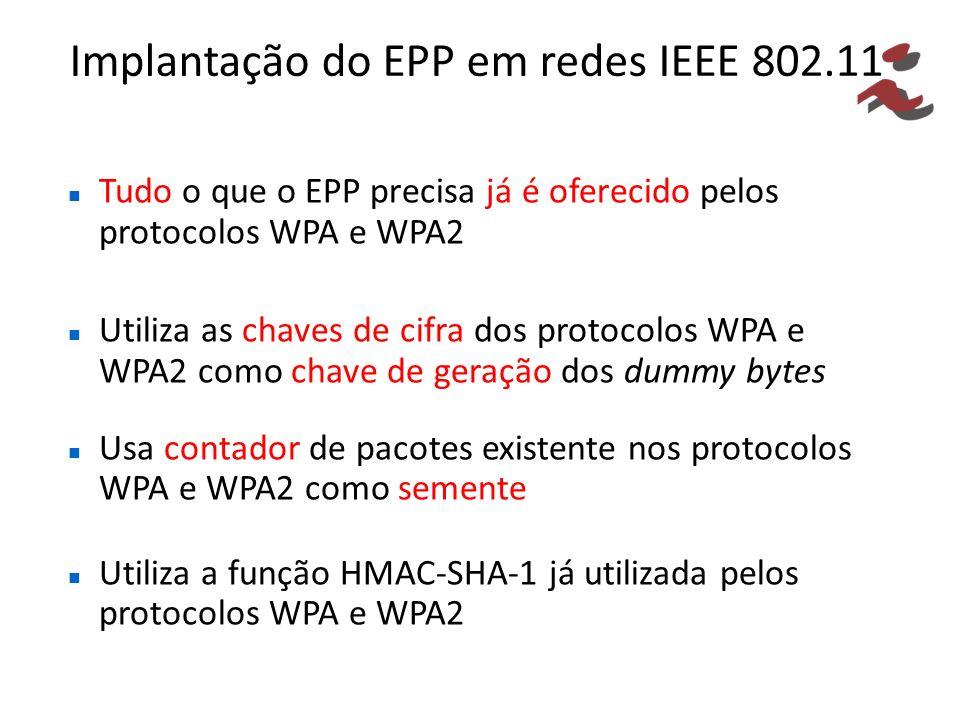 Implantação do EPP em redes IEEE 802.11 Tudo o que o EPP precisa já é oferecido pelos protocolos WPA e WPA2 Utiliza as chaves de cifra dos protocolos WPA e WPA2 como chave de geração dos dummy bytes Usa contador de pacotes existente nos protocolos WPA e WPA2 como semente Utiliza a função HMAC-SHA-1 já utilizada pelos protocolos WPA e WPA2
