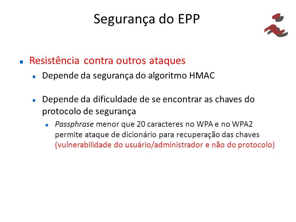 Segurança do EPP Resistência contra outros ataques Depende da segurança do algoritmo HMAC Depende da dificuldade de se encontrar as chaves do protocolo de segurança Passphrase menor que 20 caracteres no WPA e no WPA2 permite ataque de dicionário para recuperação das chaves (vulnerabilidade do usuário/administrador e não do protocolo)