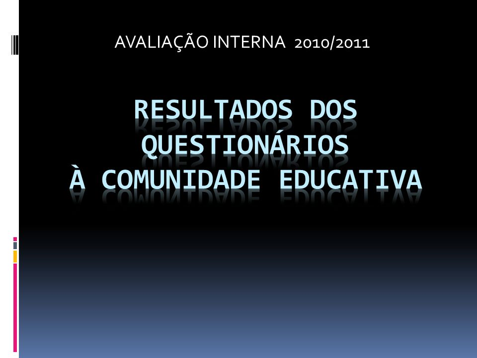 AVALIAÇÃO INTERNA 2010/2011