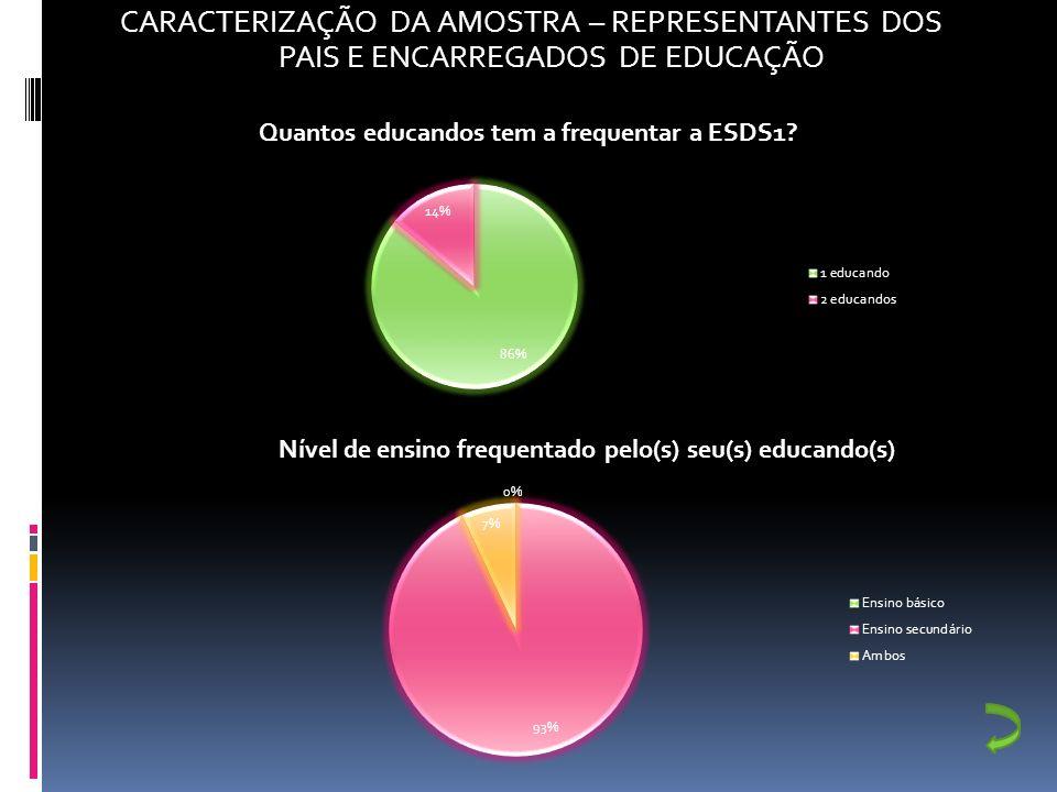 CARACTERIZAÇÃO DA AMOSTRA – REPRESENTANTES DOS PAIS E ENCARREGADOS DE EDUCAÇÃO