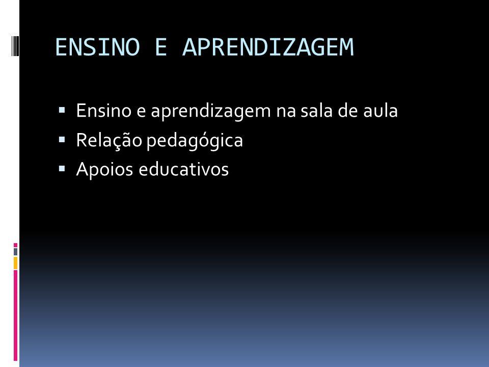 ENSINO E APRENDIZAGEM Ensino e aprendizagem na sala de aula Relação pedagógica Apoios educativos