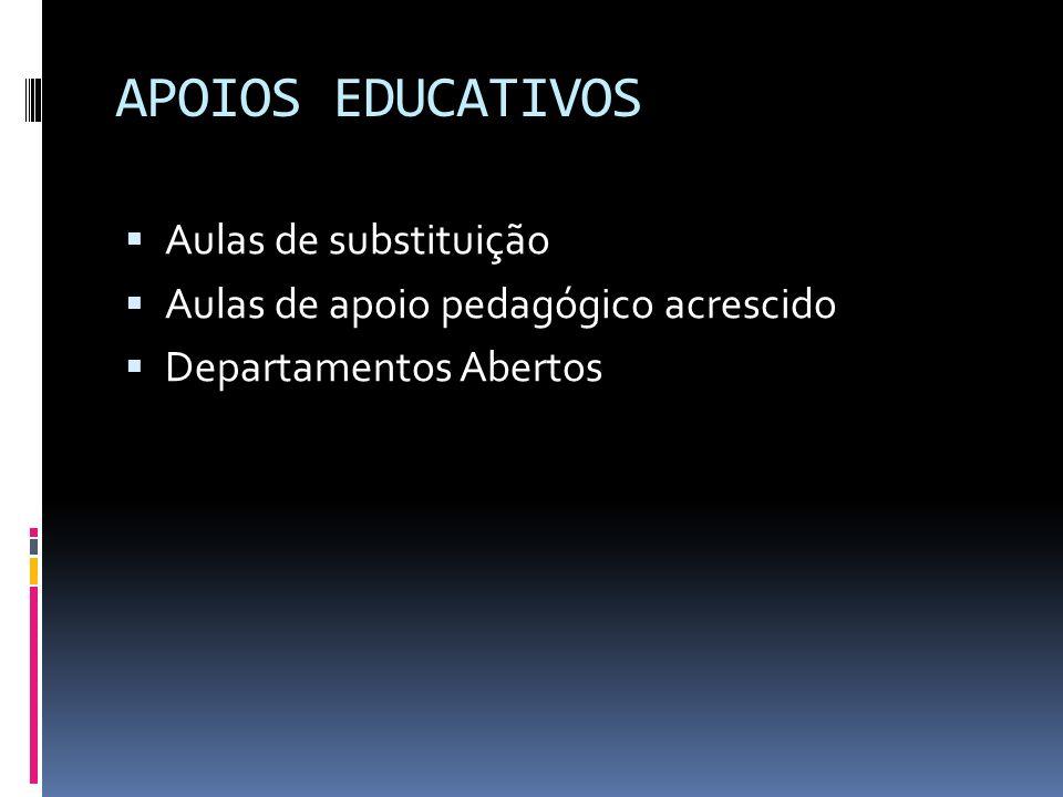APOIOS EDUCATIVOS Aulas de substituição Aulas de apoio pedagógico acrescido Departamentos Abertos