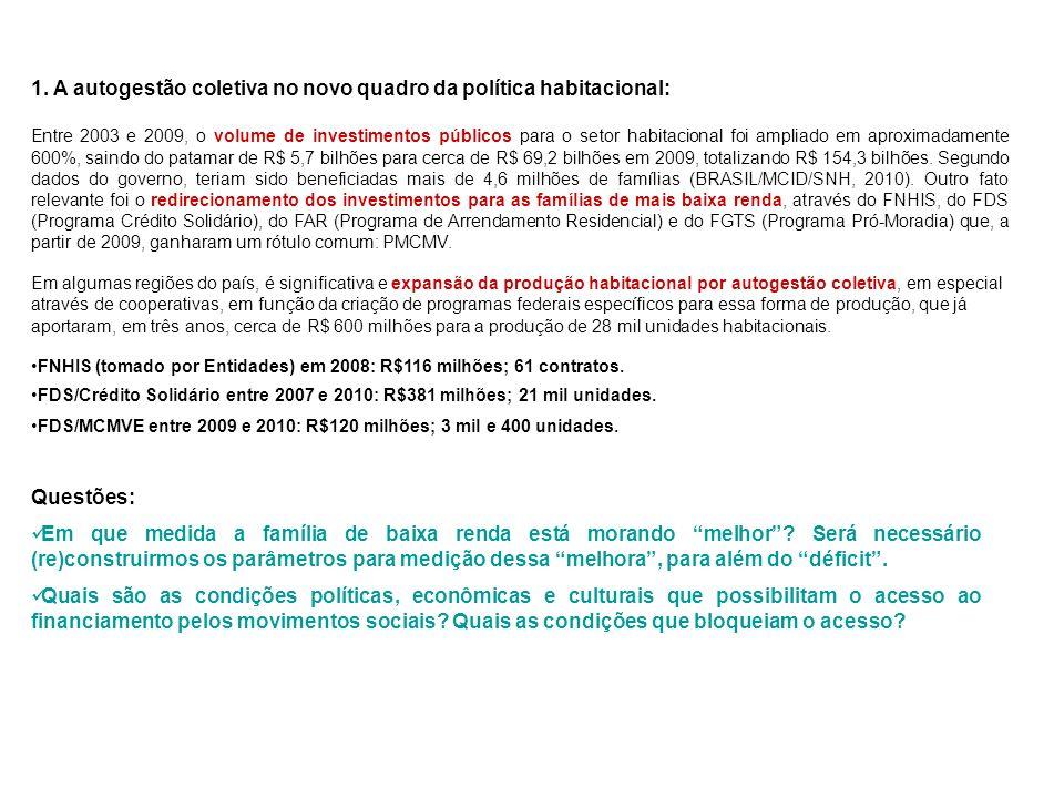 2.Justificativas de defesa da produção da moradia por autogestão coletiva: 2.2.