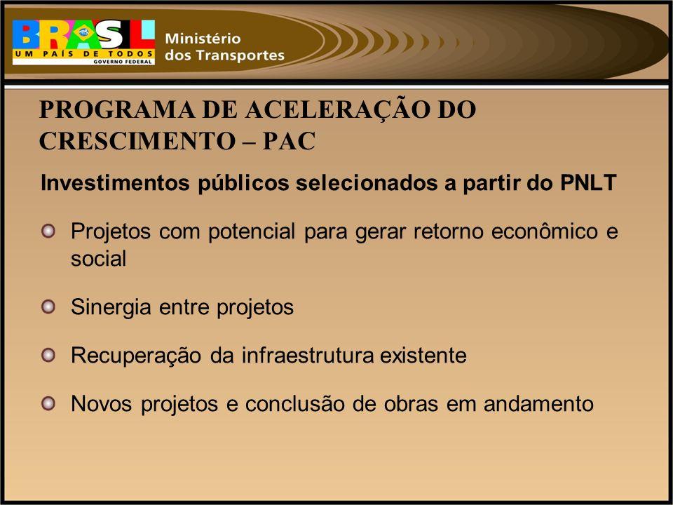PROGRAMA DE ACELERAÇÃO DO CRESCIMENTO – PAC Investimentos públicos selecionados a partir do PNLT Projetos com potencial para gerar retorno econômico e