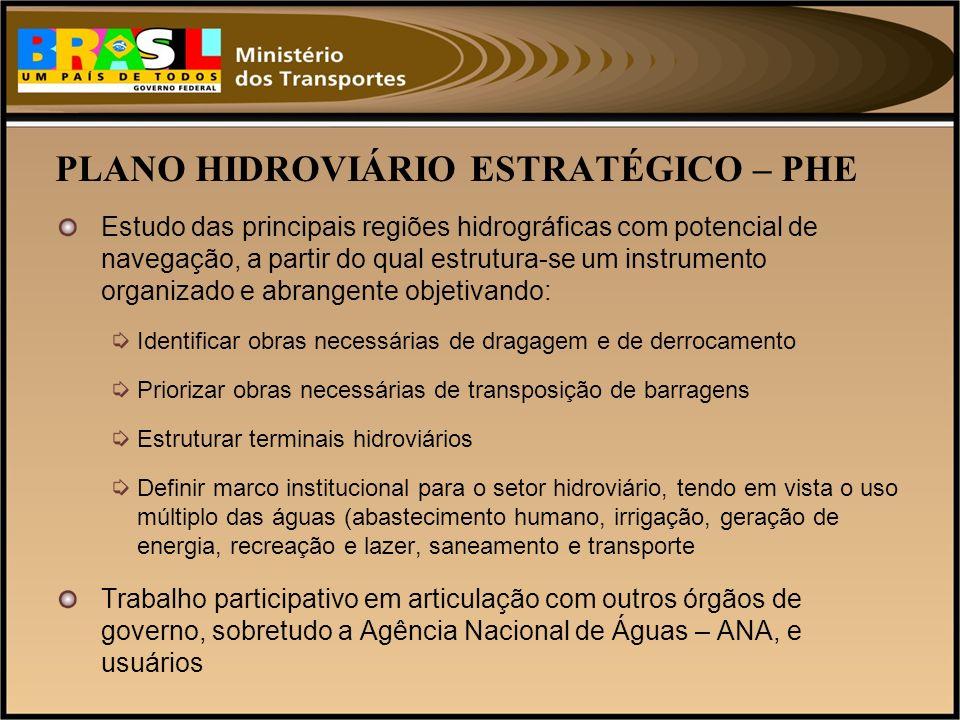 PLANO HIDROVIÁRIO ESTRATÉGICO – PHE Estudo das principais regiões hidrográficas com potencial de navegação, a partir do qual estrutura-se um instrumen