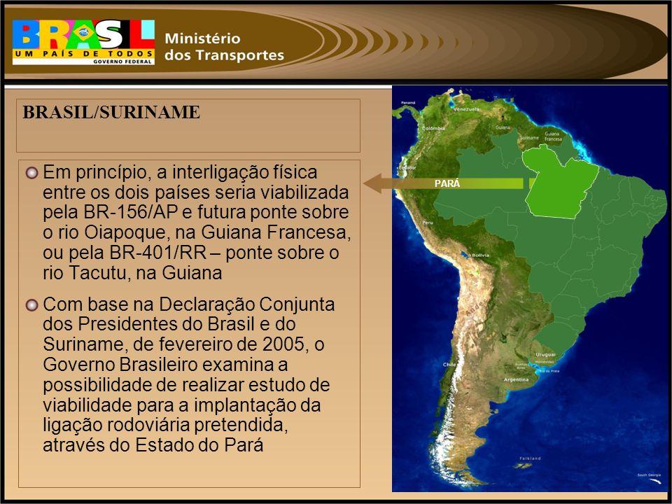 Em princípio, a interligação física entre os dois países seria viabilizada pela BR-156/AP e futura ponte sobre o rio Oiapoque, na Guiana Francesa, ou