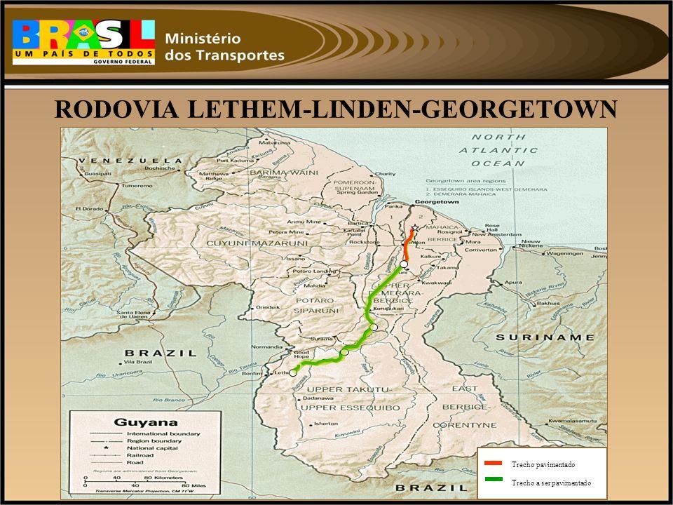 RODOVIA LETHEM-LINDEN-GEORGETOWN Trecho pavimentado Trecho a ser pavimentado