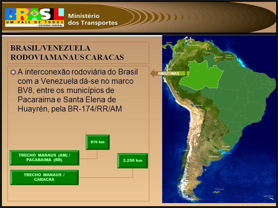 A interconexão rodoviária do Brasil com a Venezuela dá-se no marco BV8, entre os municípios de Pacaraima e Santa Elena de Huayrén, pela BR-174/RR/AM A