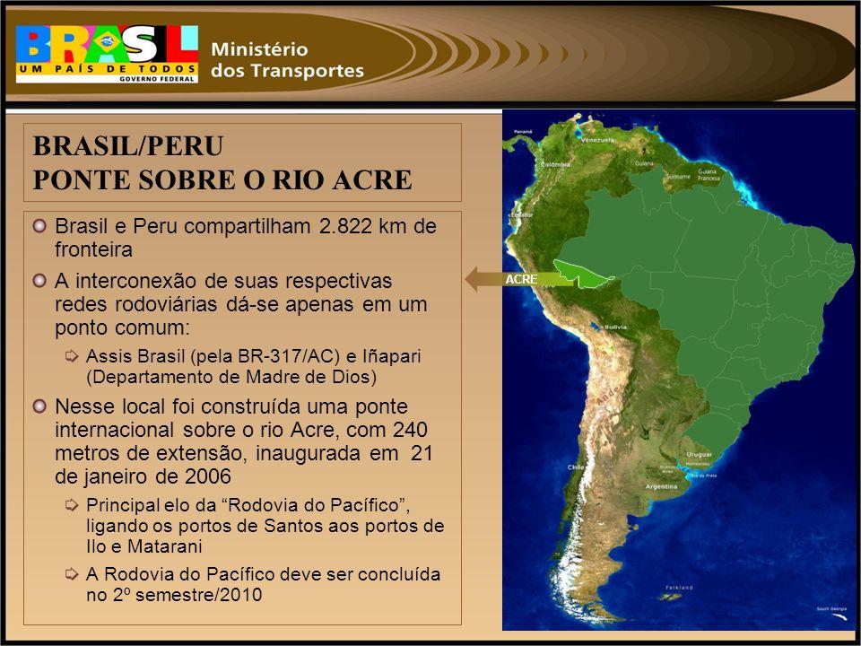 Brasil e Peru compartilham 2.822 km de fronteira A interconexão de suas respectivas redes rodoviárias dá-se apenas em um ponto comum: Assis Brasil (pe