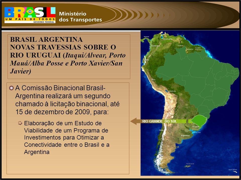 A Comissão Binacional Brasil- Argentina realizará um segundo chamado à licitação binacional, até 15 de dezembro de 2009, para: Elaboração de um Estudo