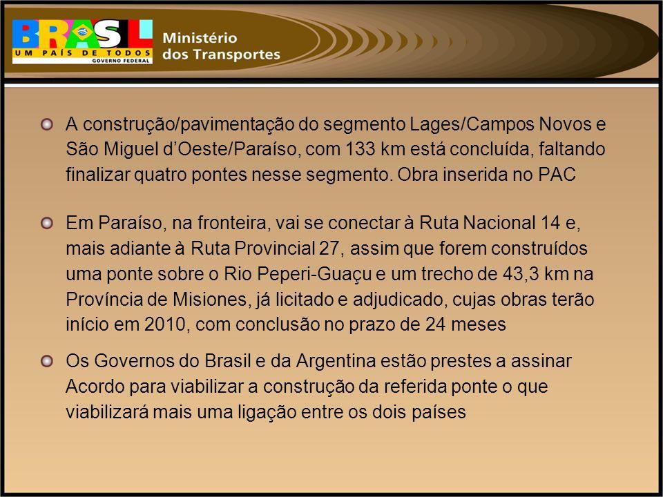 A construção/pavimentação do segmento Lages/Campos Novos e São Miguel dOeste/Paraíso, com 133 km está concluída, faltando finalizar quatro pontes ness